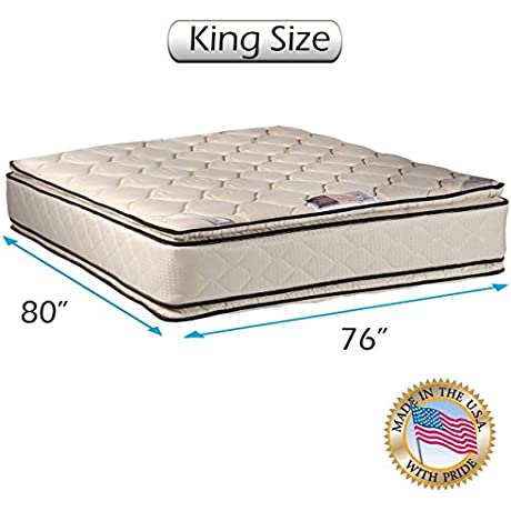 Coil Comfort Pillow Top Mattress Only King Double Sided Sleep System With Enhanced Cushion Support Fully Assembled Great For Your Back Longlasting Comfort By Dream Solutions USA