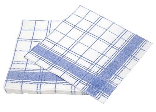 Simulinen Disposable Dinner Napkins - White & Blue - Decorative & Cloth Like Dinner Napkins - Soft, Absorbent & Durable - 16