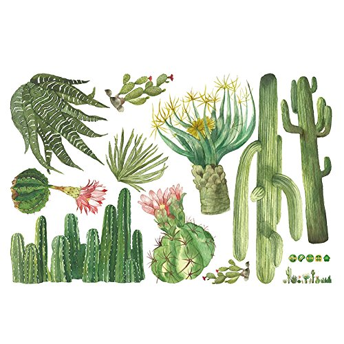 Green Plants Wall Sticker Tropical Cactus Wall Decal DIY Novelty Wall Art Mural for Cabinet Window Home Decoration from Yunhigh