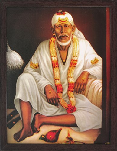 Sai Baba Sitting on Bed and Wearing White Clothes and Garland, Picture with Frame, a Hindu Religious Poster for Home/Offices and Gift Purpose