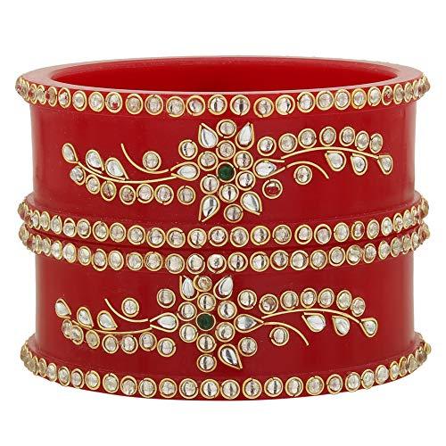 Sukriti Indian Royal Wedding Kundan Acrylic Bracelet Red Bangles Bridal Jewelry for Women & Girls - set of 2 | Size: 2.6