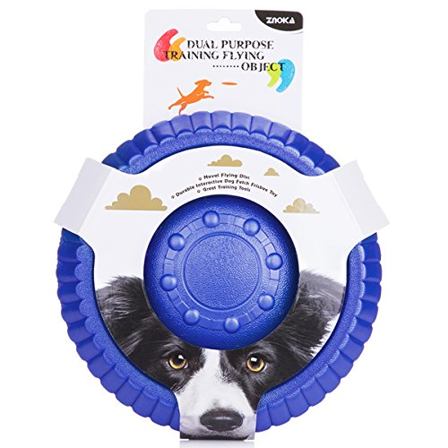 Frisbee Flying Disc Name - ZNOKA Fetching Frisbee Disc & Drinking Flying Disc Pets Toy EVA Flyer for Dog Puppy Play New Pet Toys (Large, Blue)