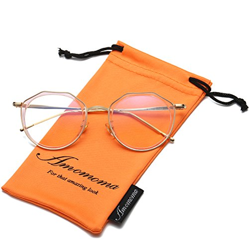 Amomoma Vintage Optical Eyewear Non-prescription Eyeglasses Frame with Clear Lenses AM5016 With Pink Frame/Gold - Prescription Glasses Designer Non Cheap