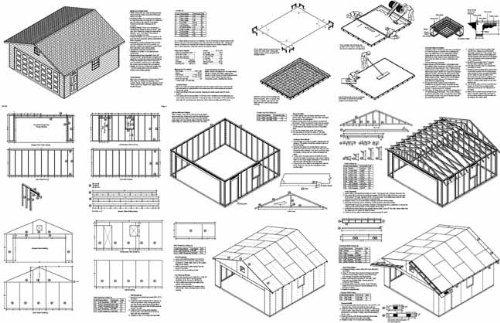 20 x 20 car garage blueprints project plans design 52020 woodworking project plans amazoncom - Garage Blueprints