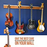 My Guitar Hanger   Heavy Duty Real Hard Wood Quality with Comfortable Grip Guitar Hanger   Perfect for Home Studio Guitars Bass Ukuleles Hanger   Brown Black   Screws Included   1139