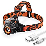 STCT Zoomable 3 Modes LED Headlamp Flashlight Rechargeable Head Light, Adjustable and Waterproof Headlamp for Camping, Orange