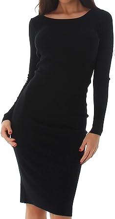 Voyelles Robe Midi En Tricot Extensible Manches Longues Robe Pull Over 38 40 Noir Amazon Fr Vetements Et Accessoires