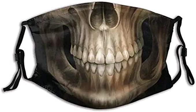 Lulupi Totenkopf Mundschutz Multifunktionstuch Halloween 3d Druck Maske Waschbar Winddicht Stoffmaske Atmungsaktiv Mund Und Nasenschutz Motorrad Skull Motiv Bandana Halstuch Bekleidung