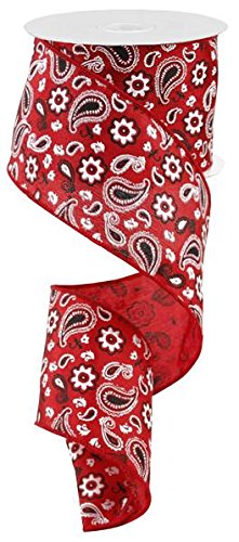 Bandana Satin Wired Edge Ribbon, 10 Yards (Red, 2.5