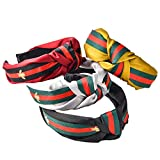 Wide Striped Headbands For Women Hair Hoops With Bee Animal Women's Hair Accessories Bow Cross Cloth Wrapped Head Wrap For Girl