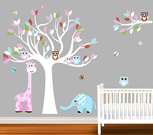 Nursery Owl, Elephant, Giraffe, Tree, Bird Wall Decal, Nurse