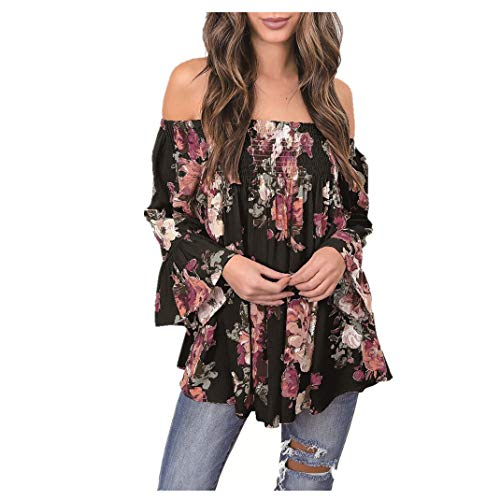 Top Lace Stripe - ManxiVoo Women Floral Print Tops Off Shoulder Flare Sleeve Shirt Blouse T-Shirt for Ladies (L, Black)