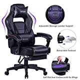 VON RACER Massage Reclining Gaming Chair - Ergonomic High-Back Racing Computer Desk Office Chair with Retractable Footrest and Adjustable Lumbar Cushion, Black