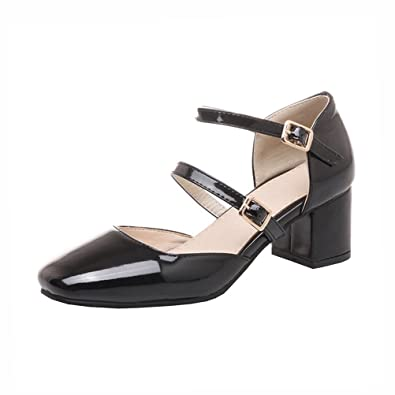44b85be09fe Agodor Women s Mid Heels Mary Janes Ankle Strap Court Shoes Closed Toe  Buckle Pumps