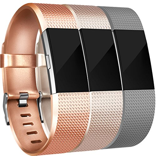 - Amzpas for Fitbit Charge 2 Bands, 3 Pack, Small Large Adjustable Replacement Accessory Wristbands Bracelet for Fitbit Charge 2 Women & Men (# 03 Classic:.Bronze+Champagne+Gray, Large)