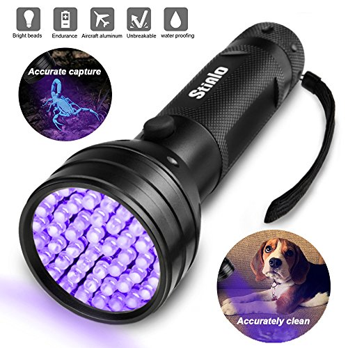 UV Flashlight Black light super 51 LED Handheld Pet Dog Cat Urine Carpet stain detector 395nm Scorpion Hunting,Ultraviolet Lightweight Portable Flashlight,bed bug,Leakage,ore,Banknote,ID card detector