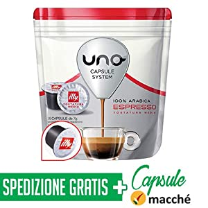 288 Caffe' Uno Capsule System Illy Espresso Tostatura Media + Bicchierini in carta Macché