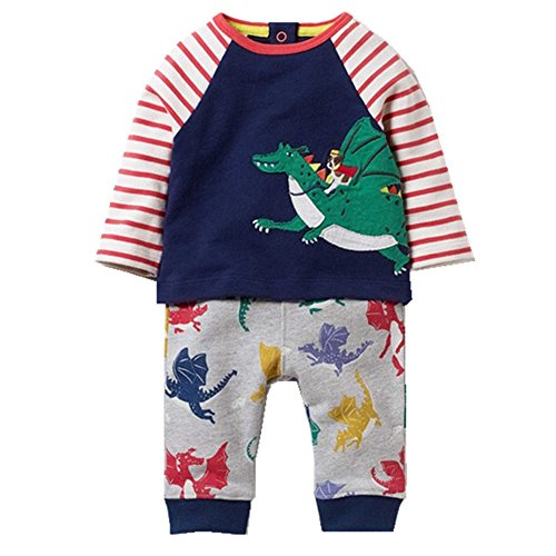 Boys Clothing Set Cotton Animal Appliques Kids Sweatshirt and Pant Outfit (4T,Dragon)