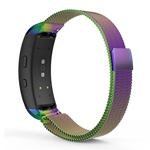 Hollyfun Watch Band for Samsung Gear Fit2/Gear Fit2 Pro, Milanese Loop Stainless Steel Mesh Bracelet Smart Watch Strap + Connector for Samsung Gear Fit 2 SM-R360/Fit 2 Pro Smart Watch (colorful) by Hollyfun