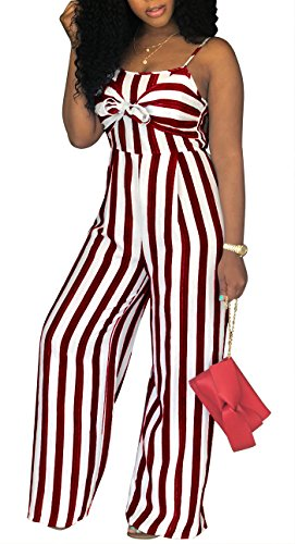 (shekiss Women's Sexy Spaghetti Strap Striped Tie Bowknot Long Pants Palazzo Jumpsuits Rompers Ladies Outfits Wine Red)