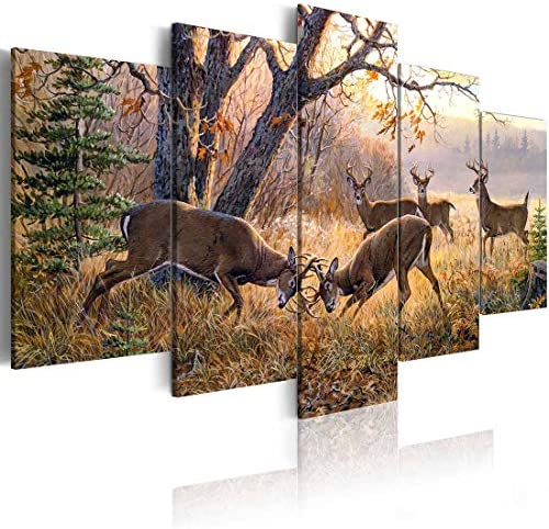 ArtHome520 Yellow Autumn Landscape Wall Art Canvas Print Painting Animal Deer Picture Home Living Room Decor Fashion Framed Artwork 5 Panel 12''x18''x2 12''x24''x2 12''x30''x1