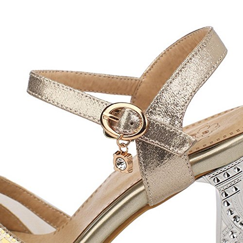 AllhqFashion Mujeres Sólido Material Suave Tacón de aguja Hebilla Peep Sandalia Gold