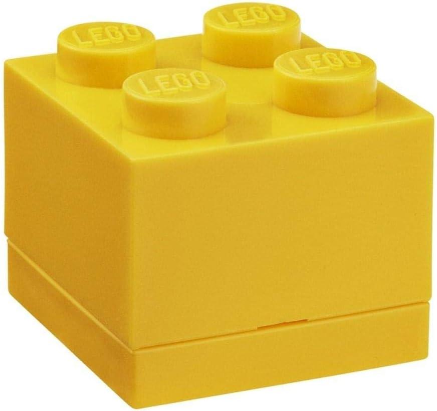 Room Copenhagen, Lego Mini Box - BPA, Phthalate, and PVC Free Snack Storage - Brick 4, Bright Yellow (40110632)