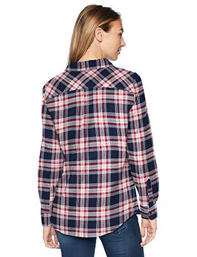 a Rojo Manga maniche adatta De Para Amazon scozzese flanella plaid Camisa Larga a classic blu Mujer rosso Essentials Camicia fit lunghe scuro in q6pUwxt