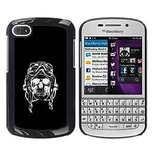 "For BlackBerry Q10 Case , Cráneo Piloto Negro Bike Riding Muerte"" - Diseño Patrón Teléfono Caso Cubierta Case Bumper Duro Protección Case Cover Funda"