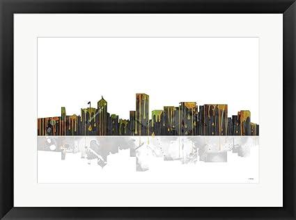 Amazon.com: Portland Oregon Skyline BW 1 by Marlene Watson Framed ...