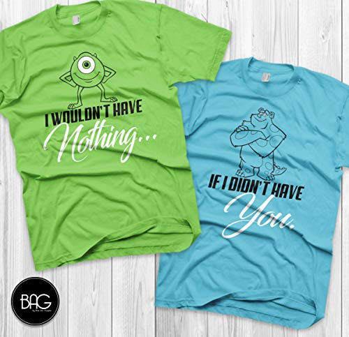 Disney Couples Shirts Mike and Sully Matching Shirts Monsters inc shirts Vacation T Shirts Couple matching shirts]()