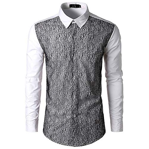 Men's Lace Panel Long Sleeve Shirt Men's Autumn Winter Casual Stand Collar (White, M) ()