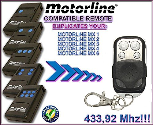 Price comparison product image Motor Line MX1 / MX2 / MX3 / MX4 / MX6 Gate Opener Motor Remote Control Replacement Key Fob - 4-ch ABCD Buttons transmitter With Battery 12v 27A Keychain / Fix Code 433.92mhz