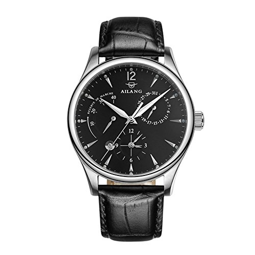 AILANG Men High-end Automatic Mechanical Watches Genuine Leather Strap AL-5809 (Black dial / Silver case / Black strap)