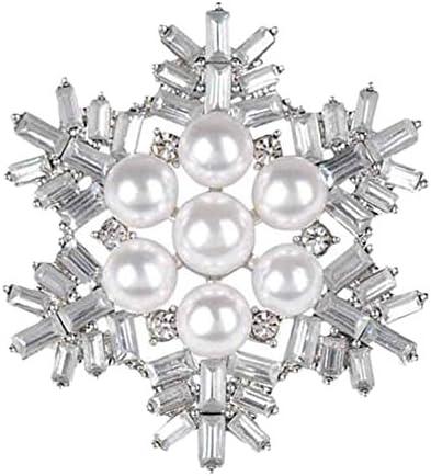 Doitsa ブローチ 胸元 中空 ラインストーンパール スノーフレーク 輝く プレゼント ギフト キラキラ