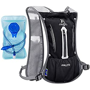 Hydration Pack HuanLang 2L Lightweight Breathable Water Backpack Marathon Running Vest with 1.5L Water Bladder Leakproof for Outdoors Walking Hiking Cycling Climbing Hunting (Black)