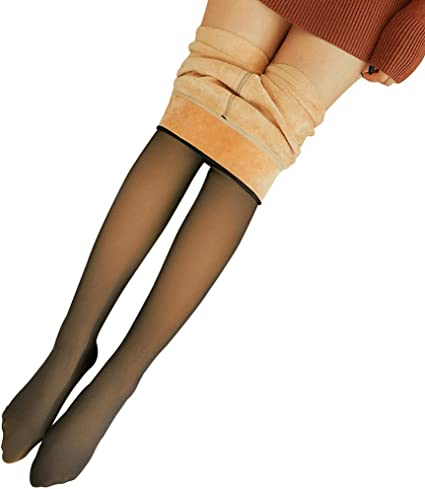 Dastrues Legs Fake Translucent Warm Fleece Pantyhose Slim Stretchy for Winter Outdoor Thick Winter Thermal Tights Butt Lifting High Waisted Pantyhose