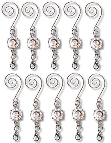 BANBERRY DESIGNS Christmas Ornament Hooks - Metal Wire Hanging Hook Set/10 - Shiny Silver Chrome Ornament Hangers - Decorative Swirl Scroll Design with Beads -