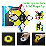Ganowo Fidget Spinner Ninja Cube Shape Magic Cube 1x3x3 Smart Twisty Cube Magic Puzzle Smooth Face Play Cube Brain Teaser Toy Gift Colorful Stickerless
