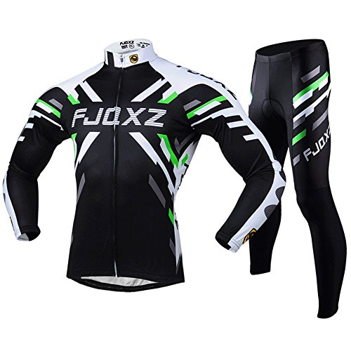 FJQXZ Men's Cycling Jersey Breathable Quick Dry Long Sleeve Set Outfit F011C