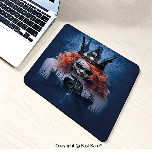 Personalized 3D Mouse Pad Queen of Death Scary Body Art Halloween Evil Face Bizarre Make Up Zombie for Laptop Desktop(W7.8xL9.45)]()