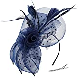 Mocofo Fascinators Hat for Women, Feather Mesh Net Veil Party Wedding Fascinators with Clip and Hairband Navy Blue