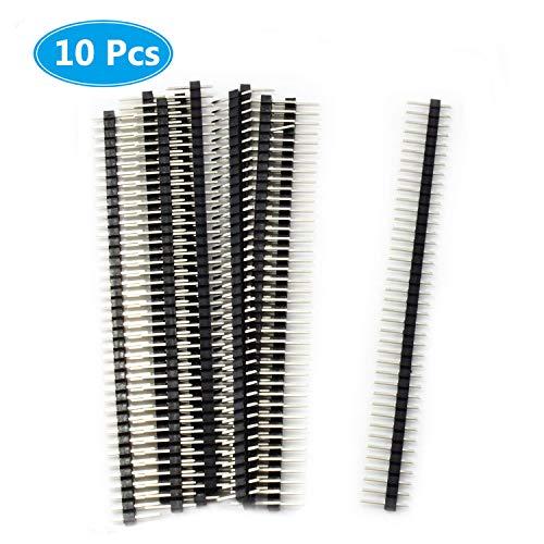 MCIGICM 10pcs Male Header Pin, 40 Pin Header Strip (2.45mm) for Arduino Connector - $4.29