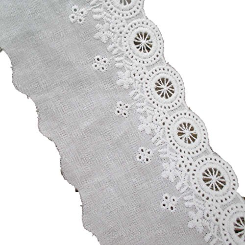 3 Inches Wide Cotton Lace Trims Cotton Eyelet Fabric for Garment and Decoration Pack of 14 Yards ()