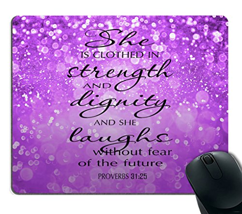 Smooffly Proverbs 31:25 Mouse Pad,Bible Verse Purple Sparkles Glitter Pattern Mouse Pad