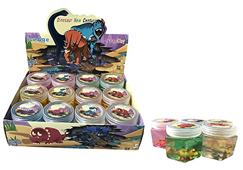 Super Fun Dinosaur Theme Colorful Slime with Suprise Toy Figure (Pack of 12) Dinosaur Slime, Dinosaur Putty Slime Fun, Dinosaur Toys by AJ Toys & Games