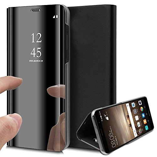 Clear View Instruments - Compatible with Samsung Galaxy S10 Plus Case,PHEZEN Luxury Mirror Makeup Case Clear View Window Plating PU Leather Stand Flip Case Wallet Case Full Body Protective Case for Galaxy S10 Plus (Black)