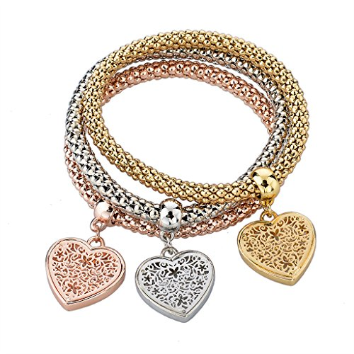 Long Way Women Gold Silver Rose Gold Plated Corn Chain Hollow Out Heart Charm Bracelet (Chain Bracelet Heart Charm)