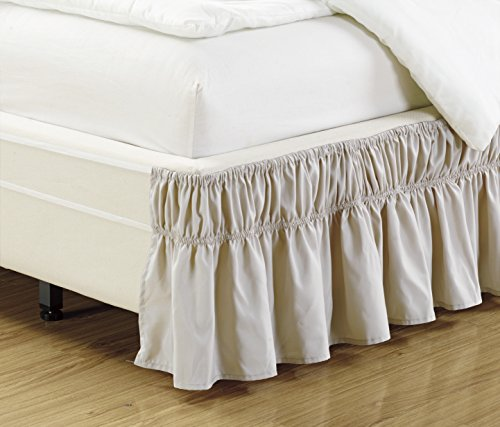 Mk Collection Wrap Around Style Easy Fit Elastic Bed Ruffles Bed-Skirt Queen-king Solid Beige New ()