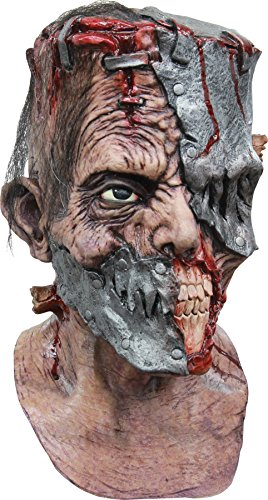 Cyborg Alien Halloween Costumes (UHC Men's Horror Metalstein Monster Cyborg Latex Halloween Costume Mask)